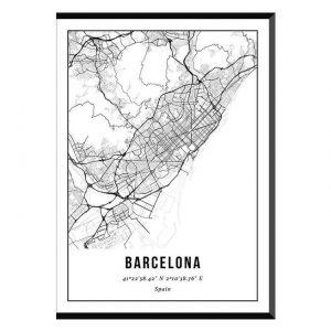 Barcelona stadskaart poster